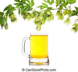 beer mug with hop border isolated on white