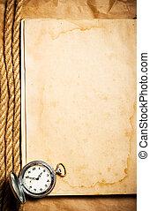 古い, 時計, 黄色, 本, ブランク, ページ