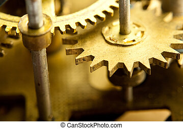 gears from old mechanism closeup