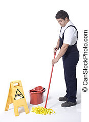 mopping floor - cleaner is mopping floor