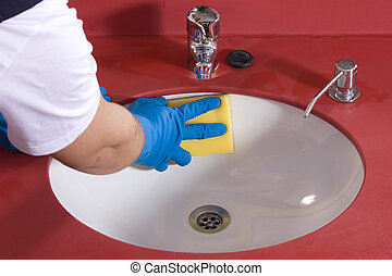 Cleaning Bathroom Sink