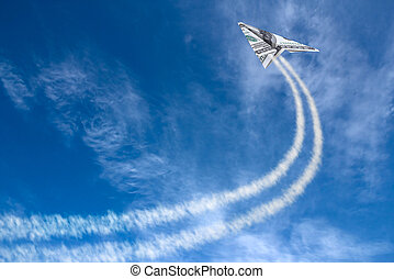 Hundreds plane - Hundred dollars plane on cloudy sky and...