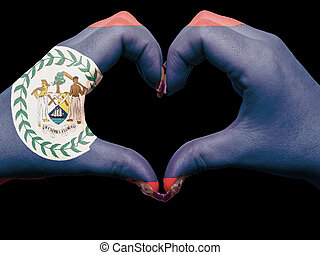 Gesture made by belize flag colored hands showing symbol of...