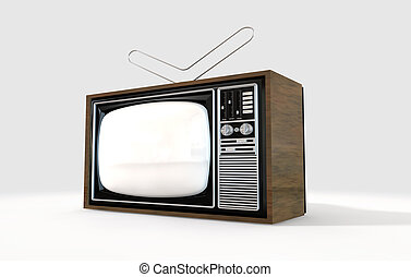 Vintage Television - An old vintage tube television with...