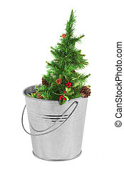 Christmas tree in a metal bucket - Decorated Christmas tree...