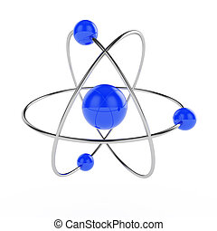 Atom - 3d illustration of atom model isolated on white...