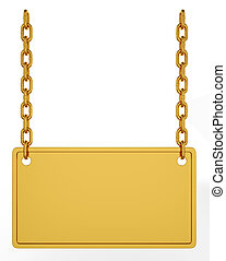 Gold signboard - 3d illustration of gold signboard isolated...