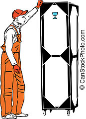 one longshoreman in orange combination holds a box