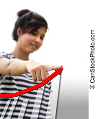 Woman touching a businesss graph.