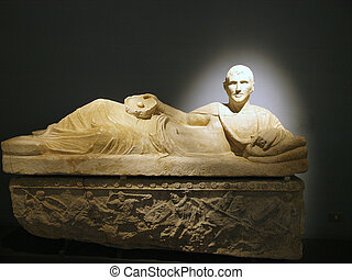 alabaster sacrophagus. From colle del Vescovo / 3rd century...