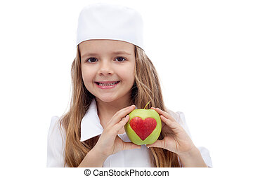 Healthy nutrition concept - eat an apple a day