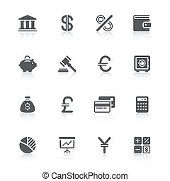 finance icons - black finance icons with reflections