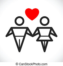 love sign - male and female couple in love