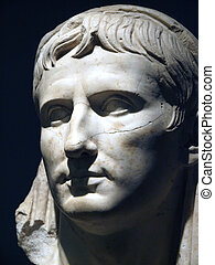 """Marble portrait of young Augustus /""""veiled head""""/ . From the..."""