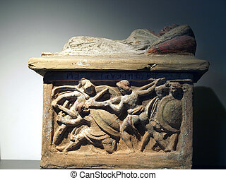 Detail of Warriors from Etruscan Cinerary Urn