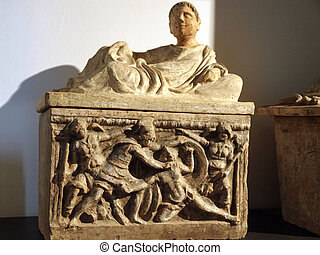 Ancient etruscan art Sarcophagus of Chiusi, Tuscany
