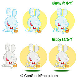 Happy Bunny Running With Easter Eggs Different Colors...