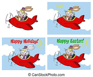 Rabbit Flying With Plane - Easter Rabbit Flying With Plane...