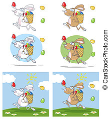 Easter Rabbit Running With A Basket And EggCollection