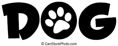 Dog Text With Paw Print - White Paw Print In The O Of The...