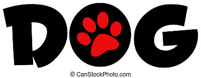 Dog Text With Circle Red Paw Print - Red Paw Print In The O...