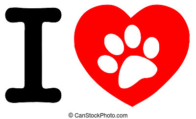 Paw Print In A Heart And Letter I - I Love Text With Red...
