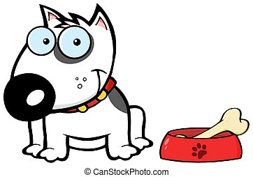 Smiling White Bull Terrier Dog - Happy White Bull Terrier...