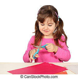 Little Girl Cutting with Scissors