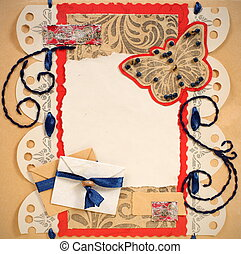 Old Scrapbook Photo Frame with Butterfly and Envelopes