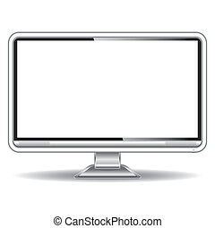 Silver monitor with blank white screen isolated on white...
