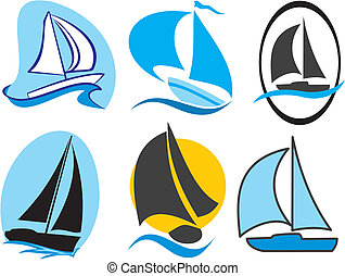 sailing icons - silhouettes of yachts and sailing boats -...