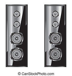 Audio speaker Loudspeaker acoustic system Isolated on white...