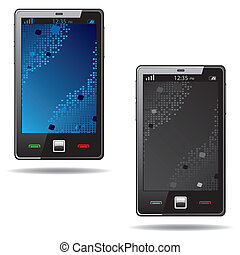 Touchscreen smart phone with abstract screen isolated on...