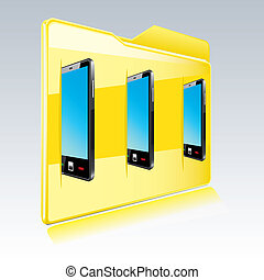 Folder with abstract  touchscreen smart phone