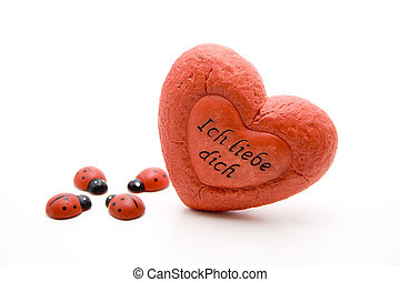 Dear heart with ladybug - Dear heart with writing and wooden...