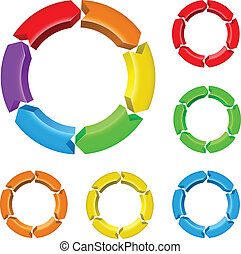 Set of arrow circles - Set number one of different colored...