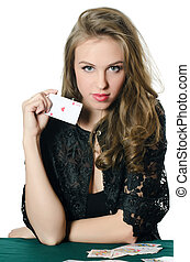The beautiful girl with playing card - The beautiful girl...