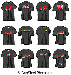 6 Rock T-shirts set, front and back side