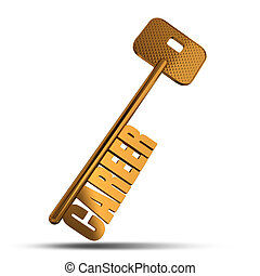 Career gold key isolated on white background - Gold key with...