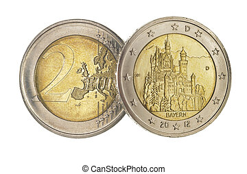 euro coin with landmark castle Neuschwanstein in bavaria,...