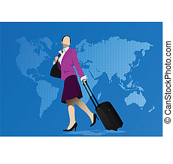 Business woman with suitcase. Vect