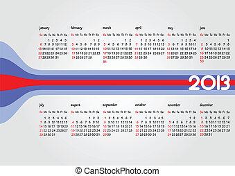 Calendar 2013 with American holiday. Months. Vector...