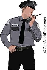 Policeman communicate by walkie-talkie radio. Vector...