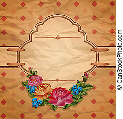 Vector vintage invitation with roses on crumpled paper