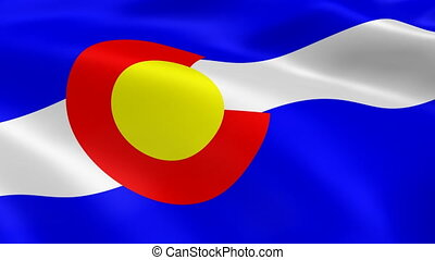 Colorado flag in the wind. Part of a series.