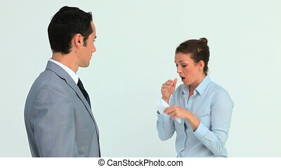 Businessman wearing a mask because a colleague is sneezing...