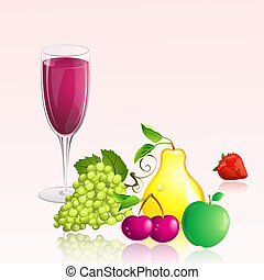 glass of wine with fruit