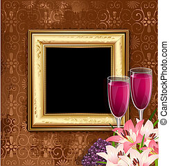 glass of wine with fruit and flowers on the background of a golden frame