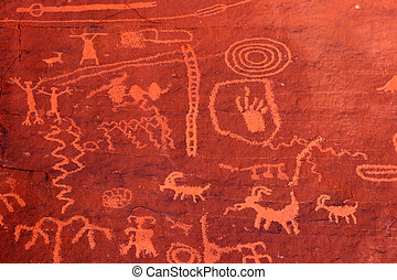 Ancient petroglyphs Valley of Fire - Ancient petroglyphs in...