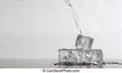 droppa, Vatten, toppen, långsam, rörelse,...